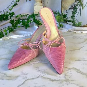 Pink snakeskin leather mules